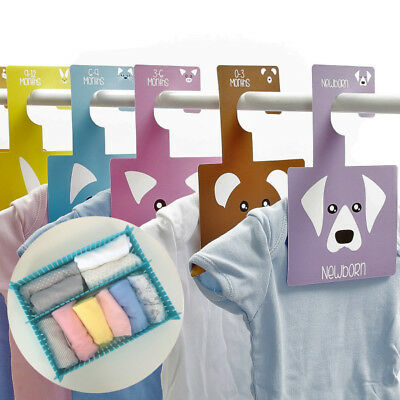 PEEK-A-BOO BABY WARDROBE DIVIDERS | NB - 2 Yrs | Pack of 7 Hangers | Organisers