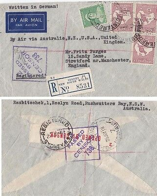 Australia 1941 Cnsored cover to UK with 6s1d air mail rate {Below}