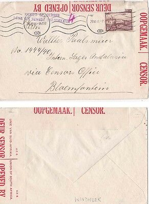 South West Africa 1941 Censored cover Windhoek to Andalusia POW camp. {Below}