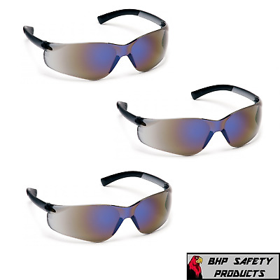 Safety Glasses Blue Mirror Lens Sport Work Eyewear Pyramex Ztek S2575S (3 Pair)