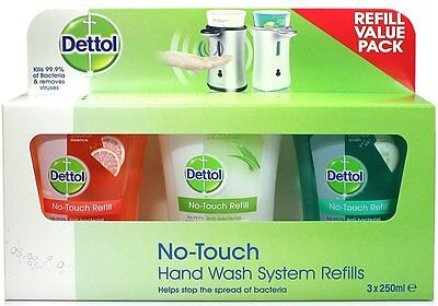 Dettol No Touch Scented Refills 3x250ml Pack Brand New Sealed