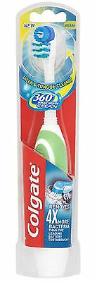 Colgate 360 Whole Mouth Clean Toothbrush - Cheek & Tongue Cleaner, Battery Power