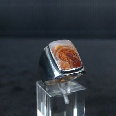 Ring Gr. 58 Silber 925 mit Laguna Lace Achat/Mexico