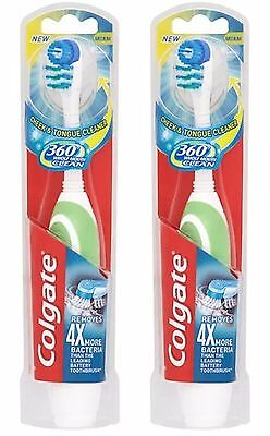 Colgate 360 Battery Operated Whole Mouth Clean Toothbrush x2 DOUBLE PACK