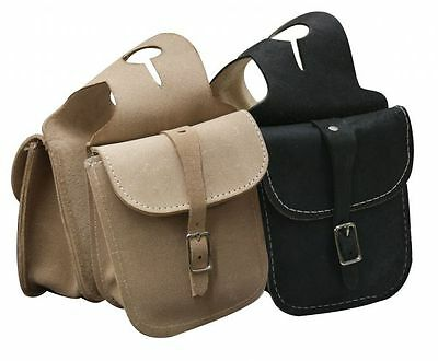 Rough Out LEATHER Horn Bag with 2 Pockets & Single Buckle Closure
