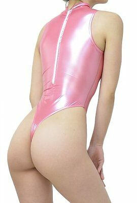 New Realise High Neck Glossy Rubber T Back Swimsuit M Size Pink