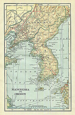 Manchuria Chosen Korea Map Antique 1906  Asia History