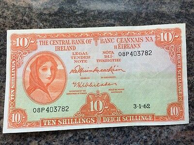 The Central Bank Of Ireland 10 Shillings Bank Note 1962 - Circulated - Very Fine