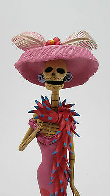 """FANCY CATRINA with shawl stole mexican folk art day of the dead clay figure 11"""""""