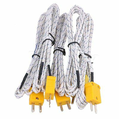 5 x Thermocouple 2 Meter Probe Sensors K Type Mini-Connector Fiberglass Cable