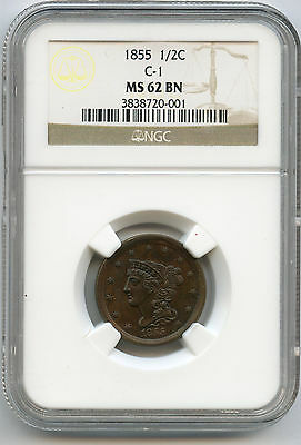 1855 1/2 Cent NGC MS 62 BN Nice Color