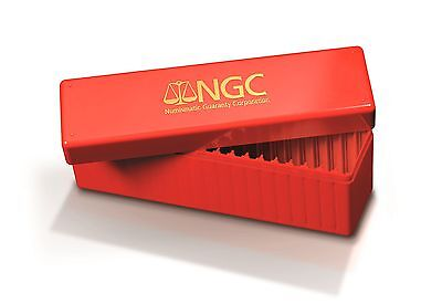 Ngc Red & Gold Storage Box Holds 20 Individual Certified Pcgs, Ngc, Icg
