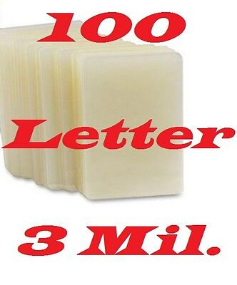 100 Letter Size  Laminating Pouches Sheets  9 x 11-1/2   3 Mil