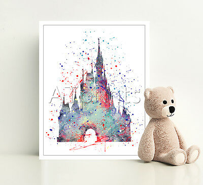 DISNEY CASTLE Print Poster Watercolor Framed Canvas Wall Art Nursery