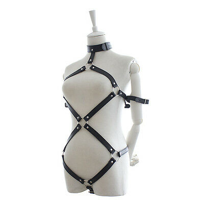 Black Leather chest harness corset No 3 bra and pants Lingerie