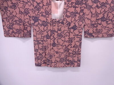Vintage Japanese Kimono / Antique Michiyuki Coat / Abstract Floral Plants / Silk