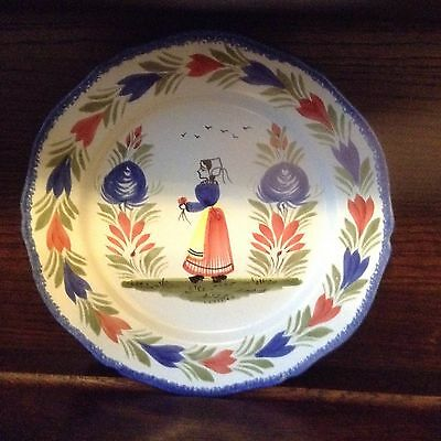 vintage French Quimper plate Breton Lady Hand painted