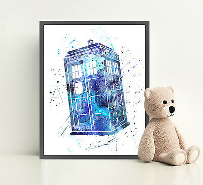 Dr WHO TARDIS Print Poster Watercolor Framed Canvas Wall Art Nursery