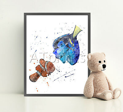 FINDING NEMO Disney Print Poster Watercolor Framed Canvas Wall Art Nursery