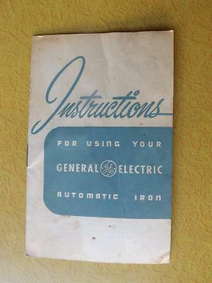 General Electric Automatic Iron Instruction Manual Booklet & Warranty