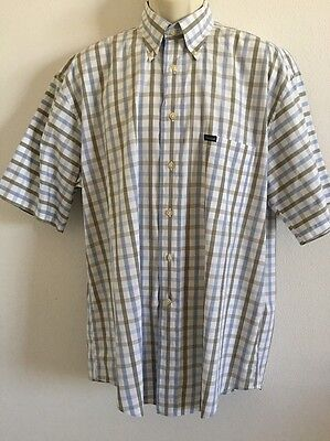 Men's Checkered Facconable Short Sleeve Button Front Shirt Fits 2XL