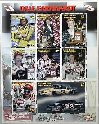 GRENADA GRENADINES 2001 Klb 3640-47 Dale Earnhardt Richard Petty Race Cars Autos