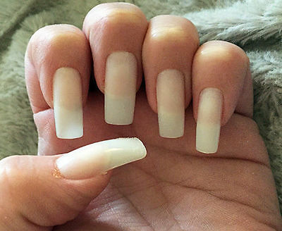 Long False Straight Nails x 50 Full Cover White Black Natural Clear Sizes 0 to 9
