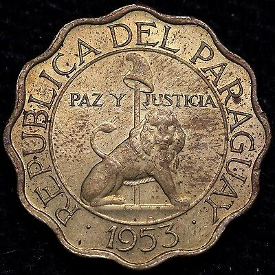 1953 Paraguay 25 Centimos Nice Coin!