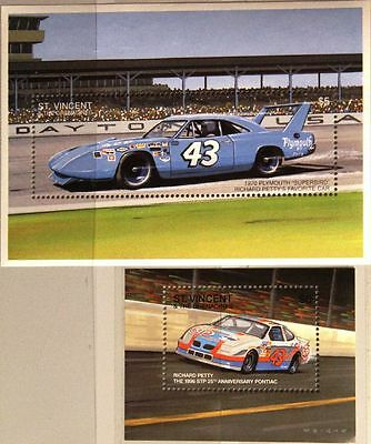 ST VINCENT 1996 Block 402-03 Richard Petty Rennfahrer Race Driver Cars Autos MNH