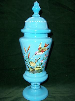 Bristol Glass Covered Vessel - Hand Enameled Humming Bird & Flowers - 14 Inches
