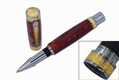 Chrome & Gold Accents Hawaiian Love Rollerball Pen Woodturning Kit