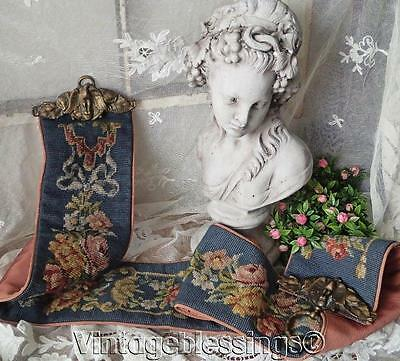 """Incredible Heavy Brass Eagles VINTAGE Needlepoint Roses on Blue BELL PULL 65"""""""