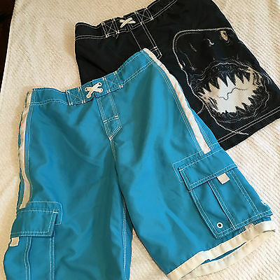 Boys/youth  swin trunks, blue and black, M & L