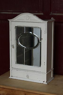 antique large French  wall medical cabinet shabby chique , painted patine