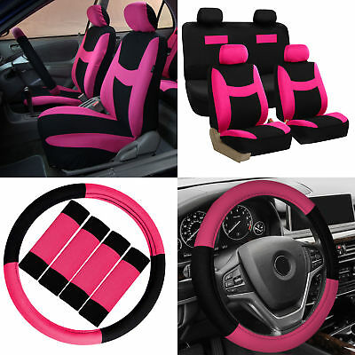Car Seat Covers Pink Black 16pc Set For Auto Wsteering Wheelbelt