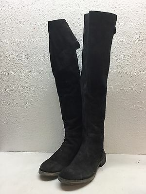 NEW Free People Carlisle Black Suede Over The Knee Boots Women's Size 37 M