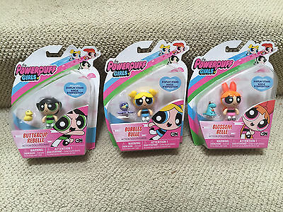 "2016 Powerpuff Girls Set Of 3: 2"" Figures Dolls BLOSSOM BUBBLES BUTTERCUP Toys"