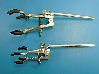 Double 2-Prong Rubber Tip Flask/Buret Laboratory Clamps Lot of 2