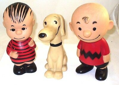 1950's Peanuts rubber doll figure set Charlie Brown, Linus and Snoopy United Syn