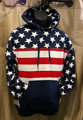 USA Red White & Blue American Flag Pullover Hoodie Sweatshirt Stars & Stripes
