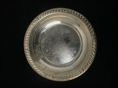 Antique Sterling Silver Floral Pattern Saucer Dish