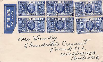 1935 2½d Jubilee x 6 (including block) on 1935 airmail cover to Australia ST341