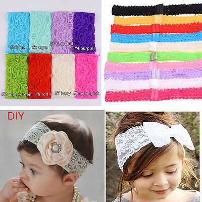 10pcs Baby Girl DIY Headband Lace Elastic Hair Band Hairband Headdress Headwear