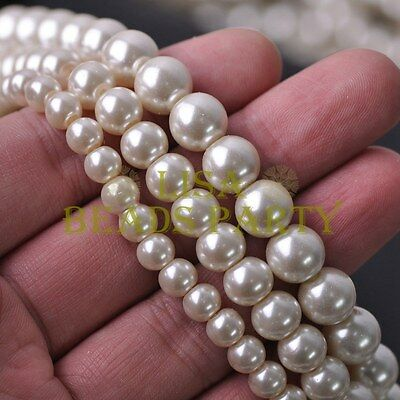 Pearl White Round Czech Glass Loose Spacer Beads Charm Findings 4mm 6mm 8mm 10mm