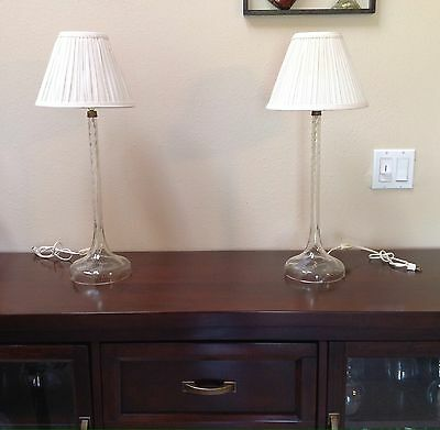 """Pair Of Vintage Tall 19""""  Swirl Glass Table Lamps Bases Mcm"""