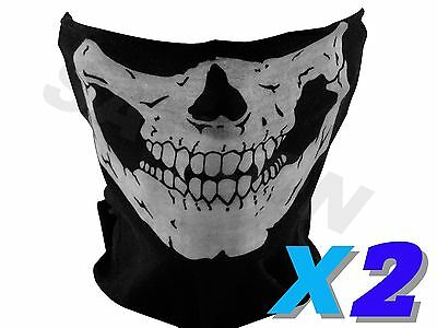 2 New Half Face Skeleton Skull Mask Motorcycle Bandana Paintball Ski Biker Scarf