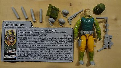 1990 GI Joe Captain Grid-Iron Near Complete w/File Card Vintage Action Figure -P