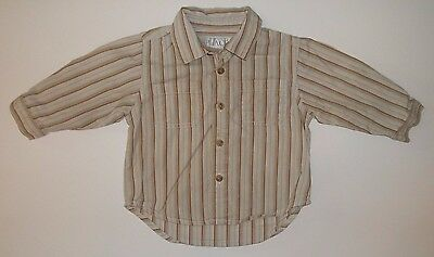 The Children's Place Shirt 6-9 Months Baby Boy Long Sleeve Brown Stripe Button