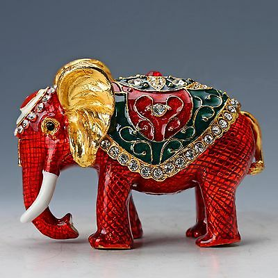 Chinese Collectable Cloisonne Inlaid Rhinestone Handwork Elephant Statue D1386