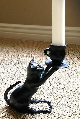 Vintage Heavy Cast Cat Figurine Holding Cup And Causer Candle Holder